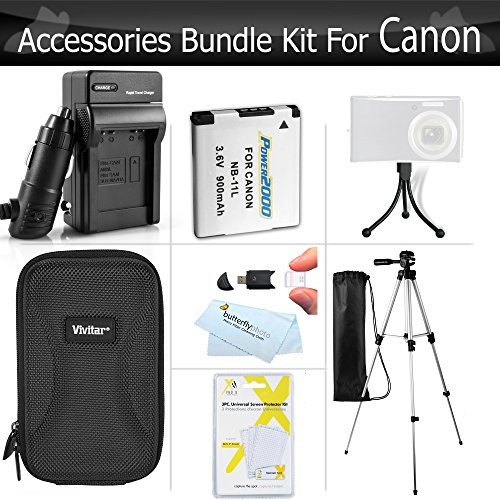 Essential Accessories Kit For Canon Powershot Elph 190 IS, ELPH 180, 150 IS, 170 IS, ELPH 160, ELPH 350 HS, ELPH 360 HS Digital Camera Includes Replacement NB-11L Battery + Charger + Case + 50 Tripod + More