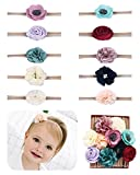 #7: Fancy Clouds Baby Girl Headbands,10 Pack Bow flower for Newborn Infant Toddler