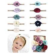 Baby Girl Headbands flowers,10 Pack Hair Bows for Newborn Infant Toddler