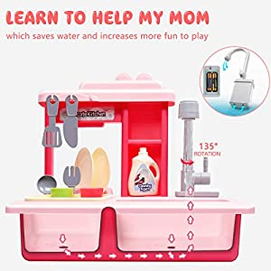 Kids Kitchen Play Sink Dishes Toys, Electric Dishwasher Playing Sink Toy with Running Water Play House Pretend Role Play…