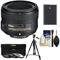 Nikon 50mm f/1.8 G AF-S Nikkor Lens with EN-EL14 Battery + 3 Filters + Tripod + Kit for D3300, D3400, D5300, D5500, D5600 DSLR Cameras