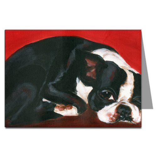 Sleepy Boston Terrier Napping Greeting Card Set - Boston Terrier Rescue