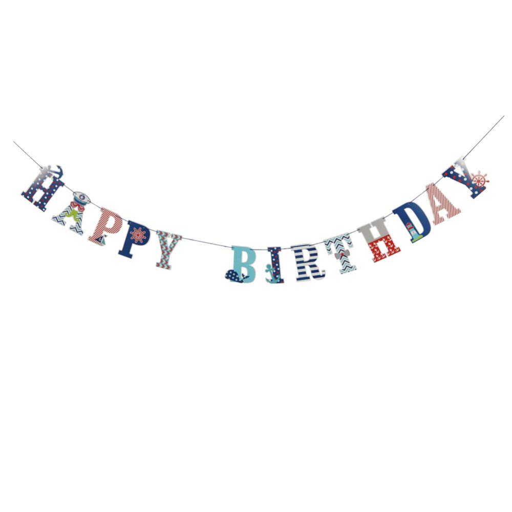 Blue and Red Party Decorations White Honeycomb Balls Birthday Decor Boy Kit 13pcs Happy Birthday Banner Nautical