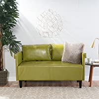 Harbison Green Leather Settee
