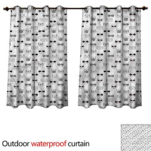 cobeDecor Cat Outdoor Balcony Privacy Curtain Cool Hipster Sunglasses W84 x L72(214cm x ()