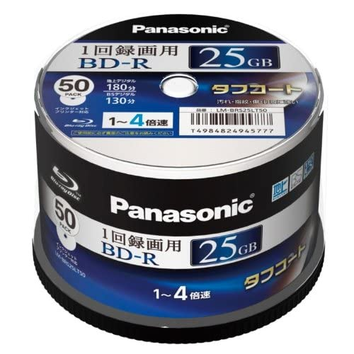 PANASONIC Blu-ray BD-R Recordable Disk | 25GB 4x Speed | 50 Spindle Pack Ink-jet Printable (Japan Import)