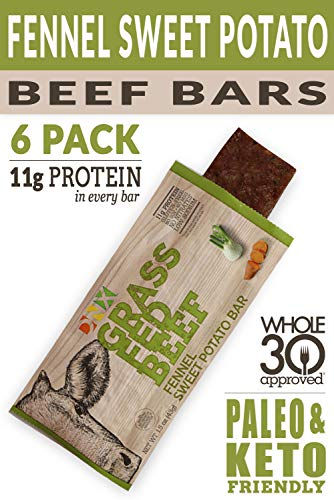 - DNX Grass Fed Protein Bars | 6 Pack | Keto Friendly Meat Snack With a Truly Epic Taste | Whole30 Approved, Gluten Free, Organic Ingredients, No Preservatives (Beef Fennel Sweet Potato, 6 - Pack)