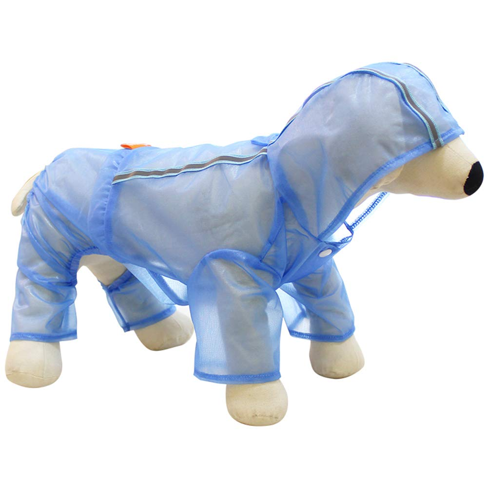 bluee XLDog Raincoat, Waterproof FourLegged Raincoat Breathable Sun Predection Clothing Hooded Pet Rain Jacket for Small Medium Dogs