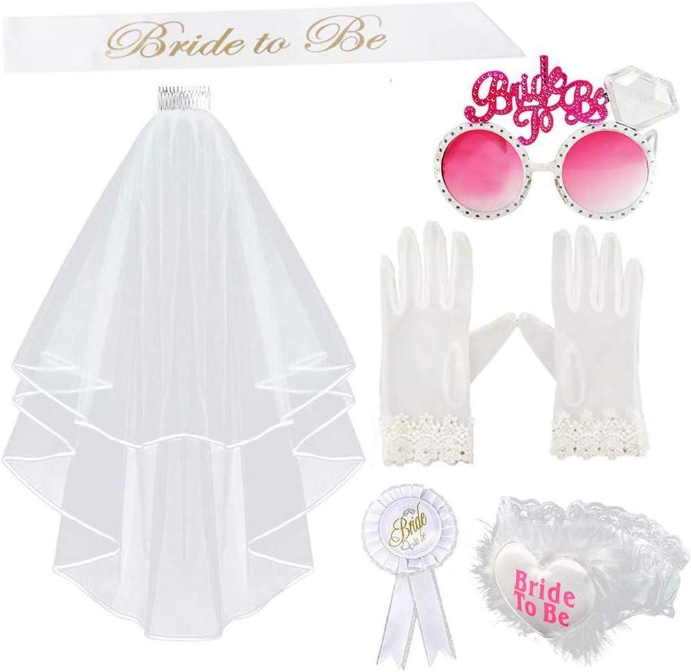 Kit de 6 velos de novia para boda, liguero, broche, gafas, guantes y banda de novia, accesorios para despedida de soltera