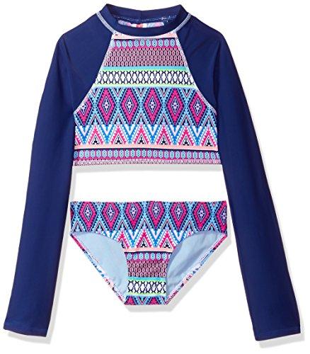 Gossip Girl Big Girls' Stripe Fusion Two Piece Rashguard Swimsuit, Navy/Pink, 12