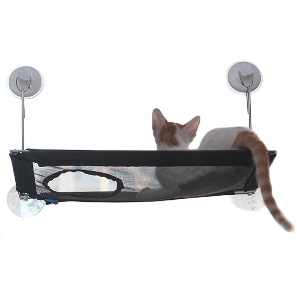 Cat Window Perch,Stainless Steel Wireless Cat Hammock[Widened Frame]Window Suction Cup Mounted Up to 25lbs Cat Bed & Cat Sunny Seat - Flannel Cover Provides Warm for Winter
