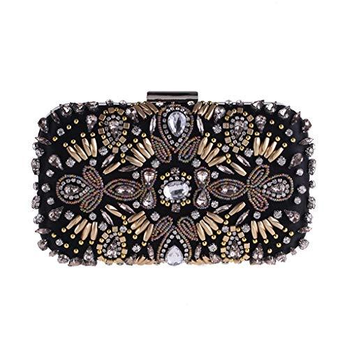 Embrayage Perles Dames de soirée dîner Noir de Main à d'embrayage Sac à 20x6x12cm A Sacs Sac Soir Strass D 8x2x5inch 5Xgxqg