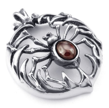 070984- stainless steel Jacinth spider necklace pendant men jewelry personalized Europe ()