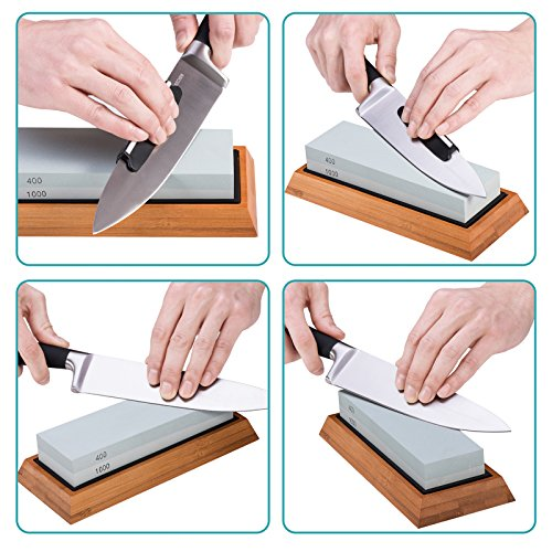 Premium Knife Sharpening Stone Kit, ASEL 4 Side 400/1000 2000/5000 Grit Whetstone, Best Kitchen Blade Sharpener Stone, Non-Slip Bamboo Base and Bonus Angle Guide Included by ASEL (Image #5)
