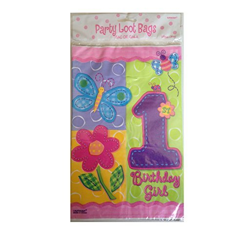 (1st Birthday Girl Hugs & Stitches Girl Party Loot Bags (8 Counts))