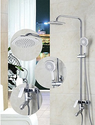 GOWE Bathroom Basin Sink 8 inch Shower Head Two Way Shower Mixer Diverter With & Hand Held Shower Brass Chrome 0