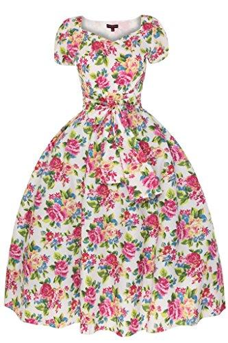 Femmes Années 1950 Encolure En Coeur Mancheron Été Motif Floral Rétro Vintage Robe Évasée - Blanc, 100% haut, Femme, 10