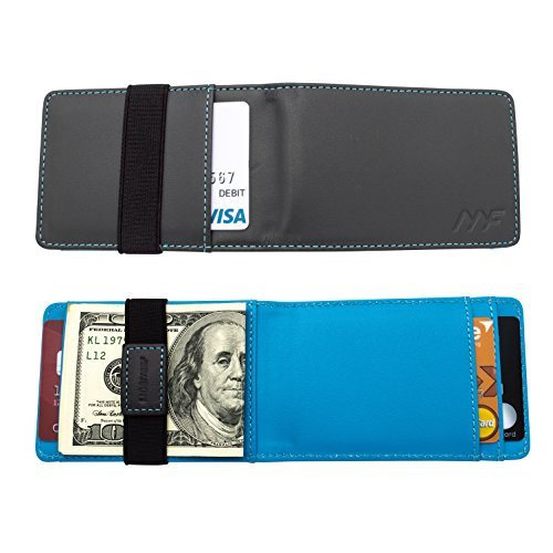 Genuine Leather Wallet, MOSIYEEF Slim Wallets for Men RFID Blocking Minimalist Wallet Money Clip Card Holder For 8 Cards, gray