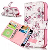 iPhone 5S Wallet Case,YiLin [9 Card Slots] - [Small Roses][Travel Wallet][Slim][Credit Card Holder] Protective Shell Shockproof PU Leather Cover Case for Apple iPhone 5 5S