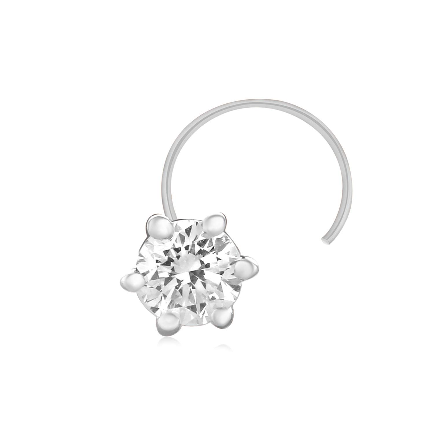 925 Solid Sterling Silver Real Natural Diamond Nose Stud Ring Pin 0.08 Ct