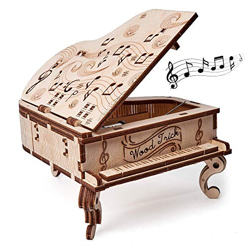 (Wood Trick DIY Toy Piano Music Box Moonlight Sonata, Wooden Musical Piano Toy Mini - 3D Wooden Puzzle, Assembly Toys, Brain Teaser for Adults and Kids)
