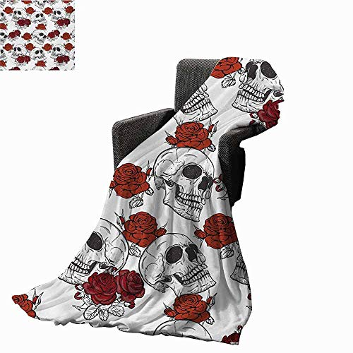 Skull Ultra Soft Flannel Blanket,Retro Gothic Dead Head Skeleton Figures with Roses Halloween Theme Spooky Trippy Romantic Lightweight Microfiber All Season for Couch or Bed (90