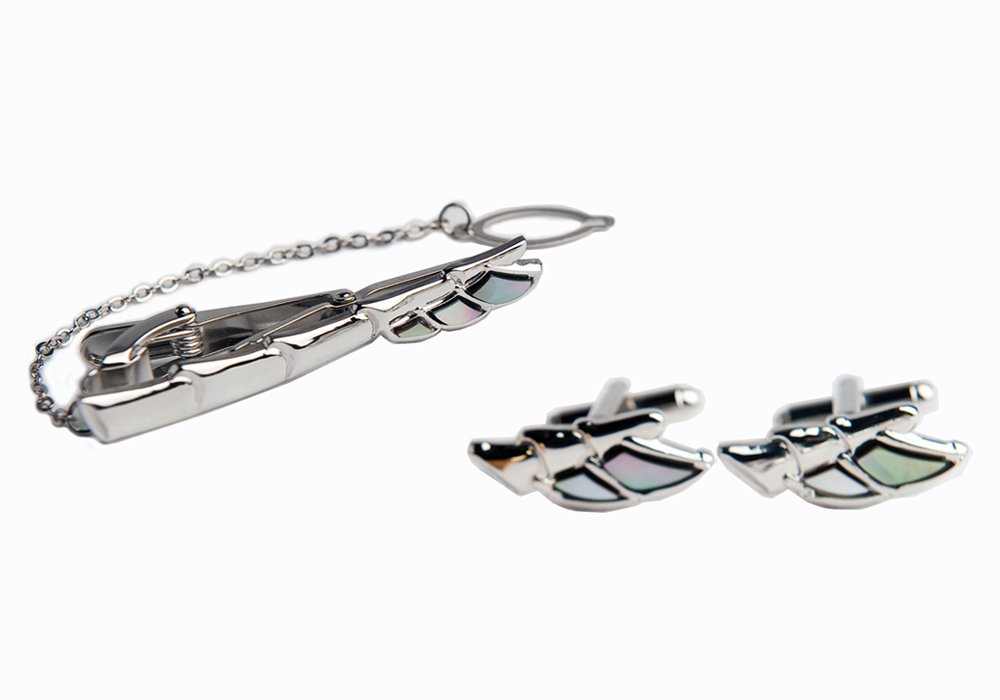 Mother of Pearl Wing Design Tie Clip Bar Clasp Pin Tack Tac and Cufflinks Set