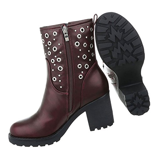 Damen Schuhe Stiefeletten Nieten Boots Bordeaux