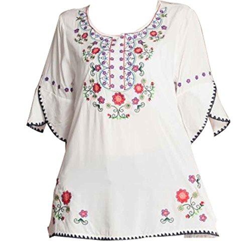 Kafeimali Women's Embroidery Mexican Bohemian Cotton Tops Shirt Tunic Blouses (White)
