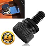 Seat Bolt Screw Cap Black for Harley Davidson Quick Mount Knurled Sides Hard Anodized 1/4