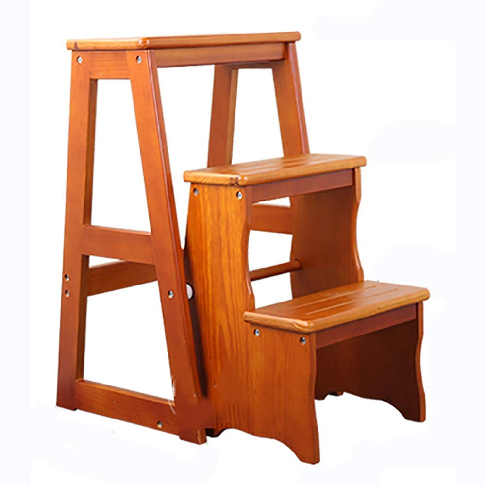 Style 3 BXJ Simple Household Folding DualPurpose Solid Wood Indoor FourStep Ladder Chair MultiFunction Ladder Stool Pine Mobile Step Ladder