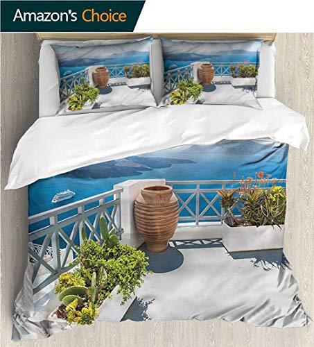 Santorini Quilt - Bedding Sets Duvet Cover Set,Box Stitched,Soft,Breathable,Hypoallergenic,Fade Resistant Bedspreads Beach Theme Quilt Cover Children Comforter Cover-Landscape Santorini Island Greece (87