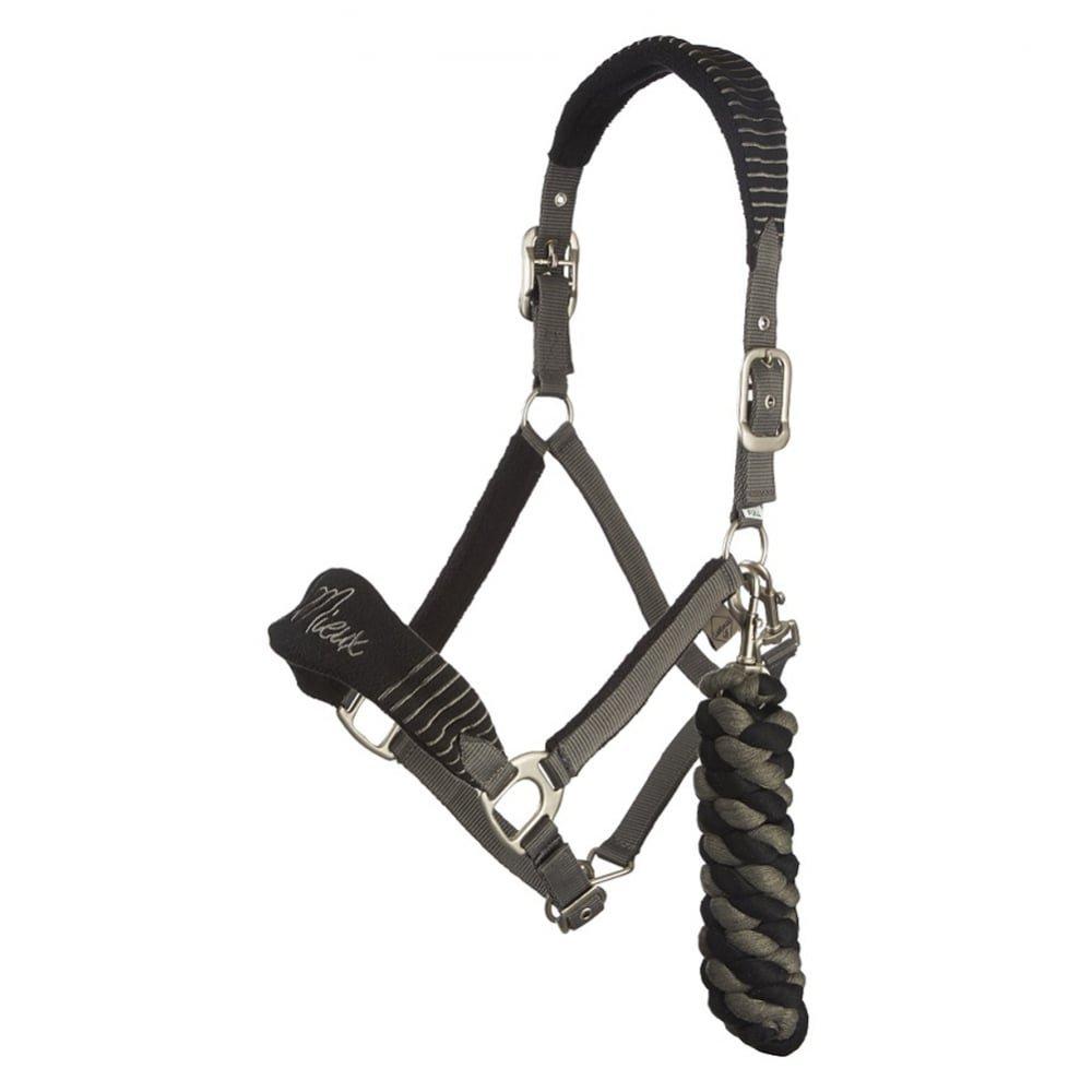 (Black Grey, Pony) LeMieux Vogue Fleece Headcollar and Leadrope Set