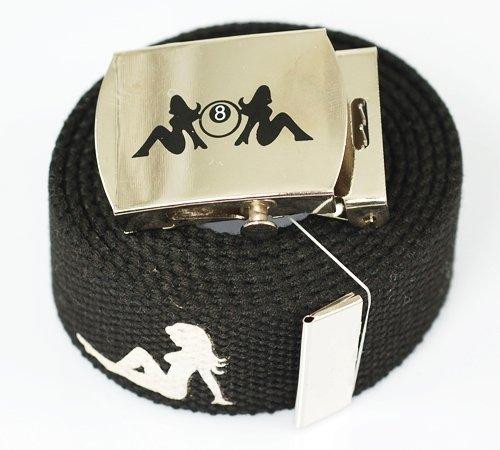 Lady 8 Ball Canvas Military Black Web Belt /& Buckle 60 Inch