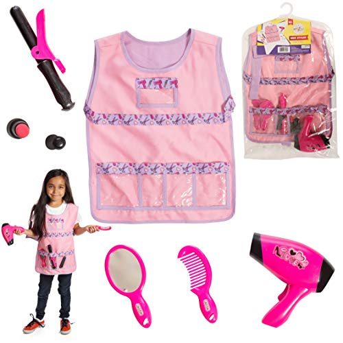Dress 2 Play Hairdresser Pretend Costume; 6 Pc Dress up Set with -
