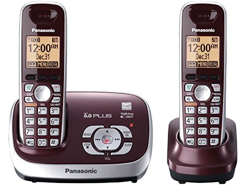 Panasonic Cordless Phone with Answering System, Wine Red, 2 Handsets (Renewed)