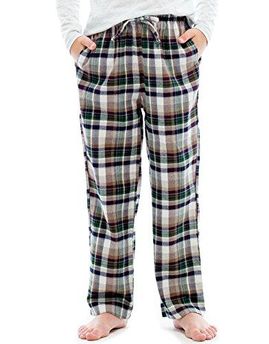 TINFL Big Boys Soft 100% Cotton Flannel Winter Lounge Pants FBP-16-Greenbrown-YXL Good Flannel Lounge Pants