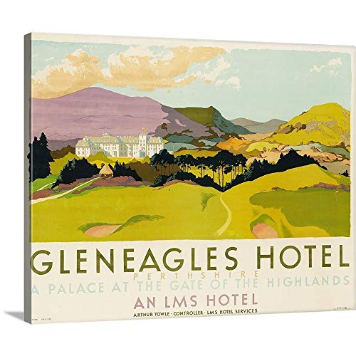 GREATBIGCANVAS Gallery-Wrapped Canvas Entitled Gleneagles Hotel, Poster Advertising The LMS, 1924 by School English 48