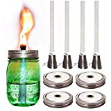 Mason Jar Tiki Torch Kits,4 Pack Regular Mouth Lids,4 Long Life Torch Wicks and Caps Included,Oil Fuel Lamps for Patio Table Top Torch Lantern(No Jar)