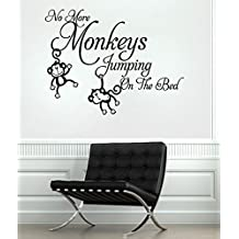 No More Monkeys Jumpin' on the Bed! Quote Wall Sticker Quote Decal Wall Art Decor G5789