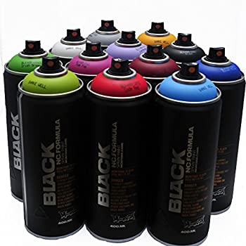 Montana BLACK 400ml Popular Colors Set of 12 Graffiti Street Art Mural Spray Paint