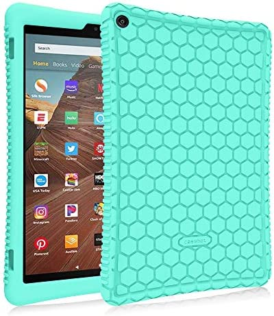 Fintie Silicone Case for All-New Amazon Fire HD 10 (Compatible with 7th and 9th Generations, 2017 and 2019 Releases) – [Honey Comb Series] [Kids Friendly] Light Weight Shock Proof Back Cover, Mint Green