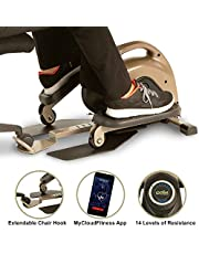 EXERPEUTIC 900E EXERWORK No Impact Bluetooth Smart Cloud Fitness Under Desk Elliptical with Extendable Chair Hook and Free App