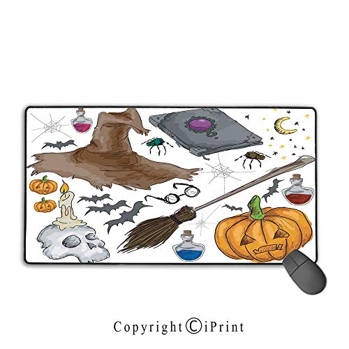 Waterproof mouse pad,Halloween Decorations,Magic Spells Witch Craft Objects Doodle Style Grunge Design Candle Skull,Multi,Ideal for Desk Cover, Computer Keyboard, PC and Laptop Mouse pad with lock,15.