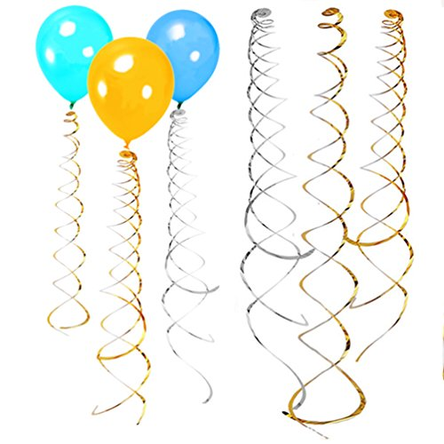 AZOWA Party Foil Hanging Swirl Decorations Spiral Ornaments Gold/Silver Party Supply Party (Party City Costume Coupon)