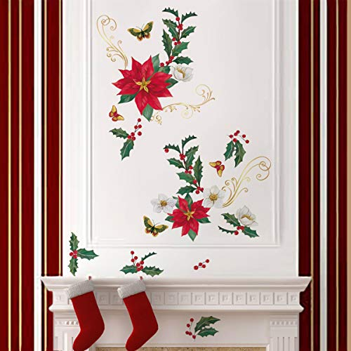 ufengke Christmas Poinsettia Flower Wall Stickers Butterflies