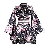 Kimono Bathrobe Costume Japanese Traditional Yukata Cosplay Women's Sexy Sakura Pattern (Black)