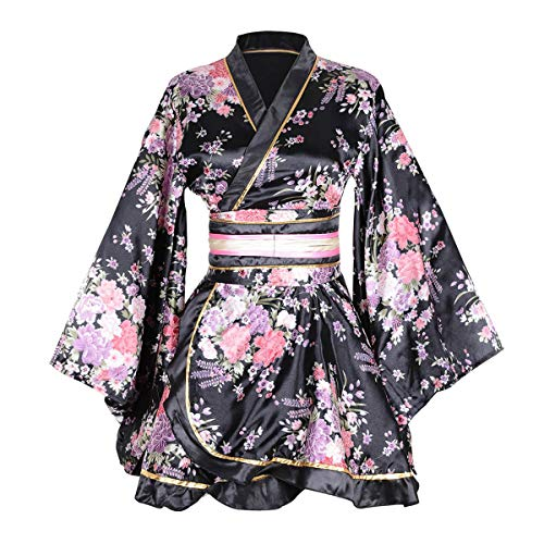 Kimono Bathrobe Costume Japanese Traditional Yukata Cosplay Women's Sexy Sakura Pattern (Black)