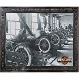Harley-Davidson Factory Scene Framed Wall Mirror