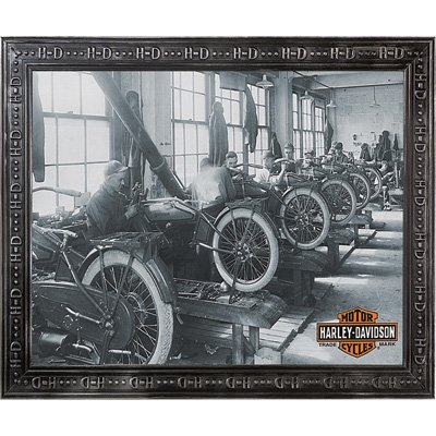 Harley-Davidson Factory Scene Framed Wall Mirror